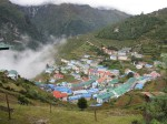 Namche Bazaar just before being enveloped in cloud